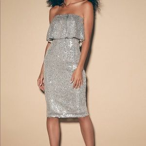 Lulu's sequin strapless midi dress